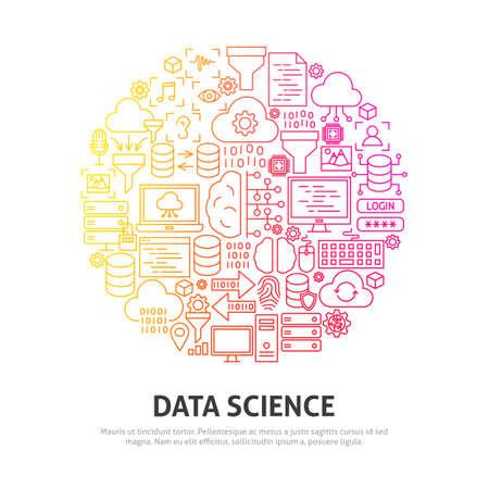 Data Science Circle Concept. Vector Illustration of Outline Design.