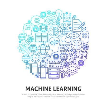 Machine Learning Circle Concept. Vector Illustration of Outline Design. Illustration