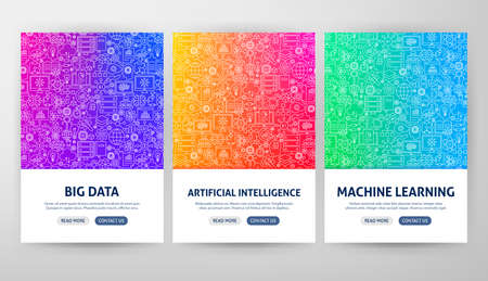 Artificial Intelligence Flyer Concepts. Vector Illustration of Outline Design. Archivio Fotografico - 132122657