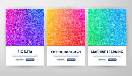 Artificial Intelligence Flyer Concepts. Vector Illustration of Outline Design. Illustration