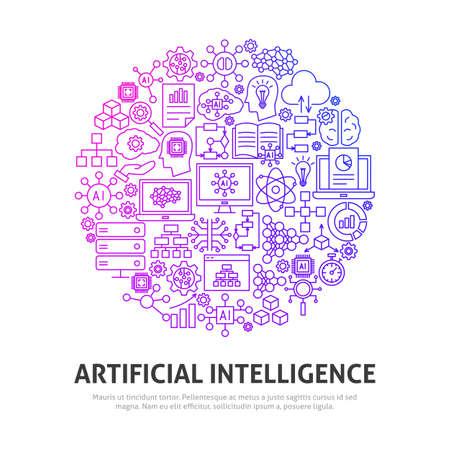 Artificial Intelligence Circle Concept. Vector Illustration of Outline Design. Çizim