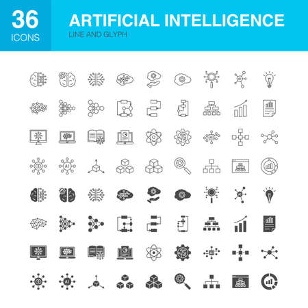 Artificial Intelligence Line Web Glyph Icons. Vector Illustration of Technology Outline and Solid Symbols.