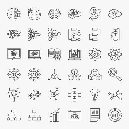 Artificial Intelligence Line Icons Set. Vector Thin Outline Computer Technology Symbols.