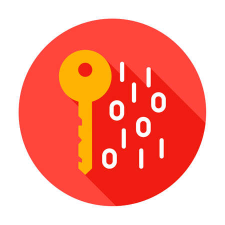 Key Binary Code Circle Icon. Vector Illustration with Long Shadow. Business Item. Stok Fotoğraf - 132973741