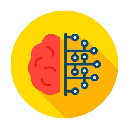 Human Brain Microchip Circle Icon