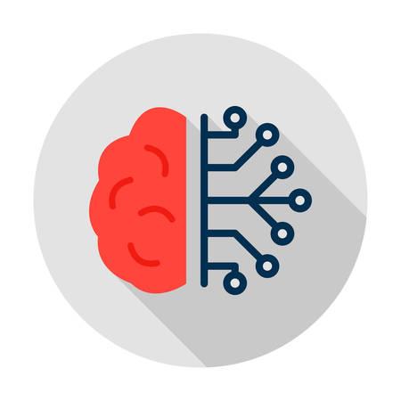 Human Brain Half Microchip Circle Icon