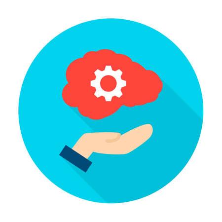 Hand Holding Human Brain Circle Icon