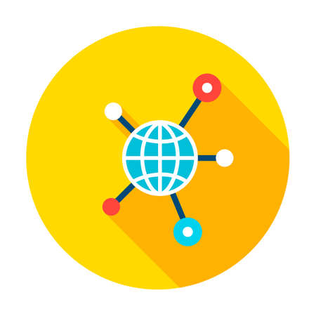 Globe Connection Graph Circle Icon