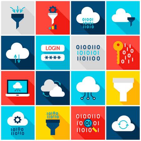 Bunte Icons für die Datenverarbeitung Vektorgrafik