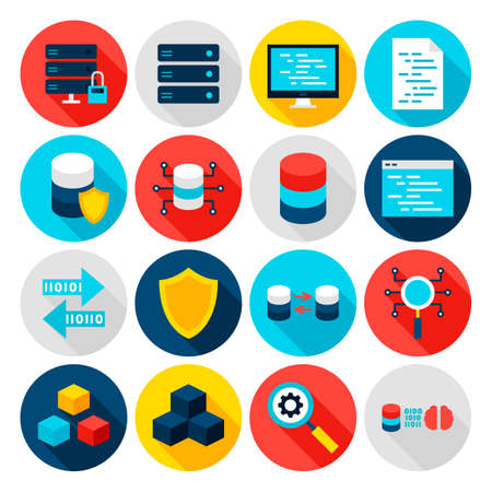 Icônes plates de Big Data