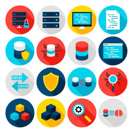 Iconos planos de Big Data