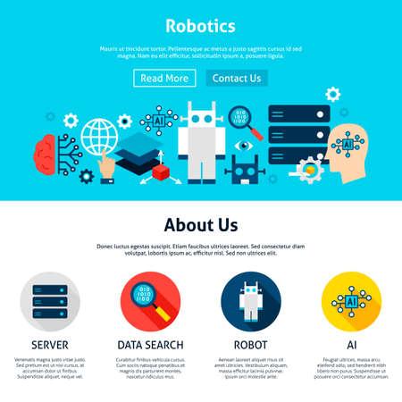 Diseño de sitios web de robótica Ilustración de vector