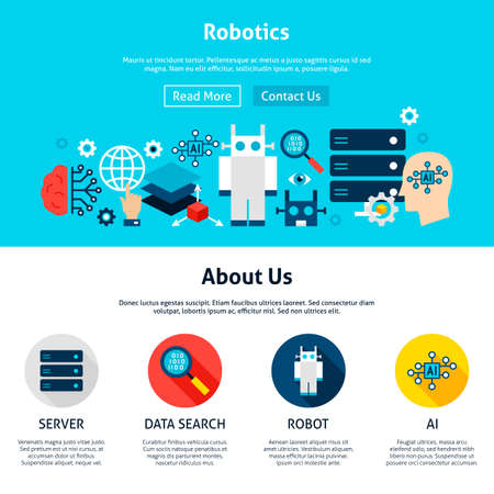 Website-ontwerp voor robotica Vector Illustratie