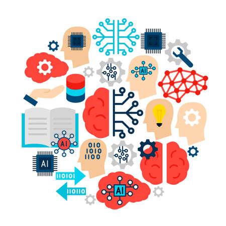 Machine Learning Icons Circle