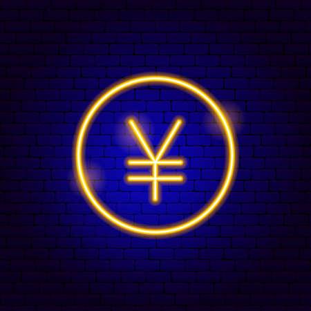 Yen Japan Neon Sign. Vector Illustration of Business Promotion.