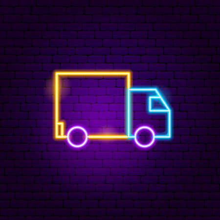 Delivery Truck Neon Sign. Vector Illustration of User Interface Promotion. Illustration