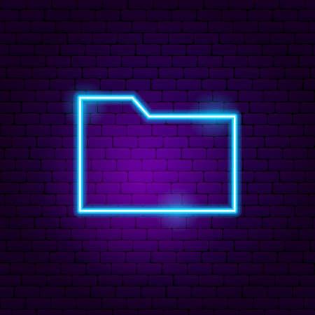 Data Folder Neon Sign. Vector Illustration of User Interface Promotion. Stock fotó - 134979942