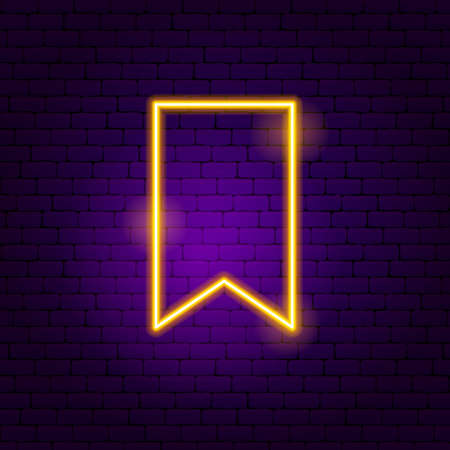 Bookmark Neon Sign. Vector Illustration of User Interface Promotion. 向量圖像