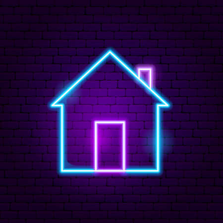 Home Neon Sign. Vector Illustration of User Interface Promotion.