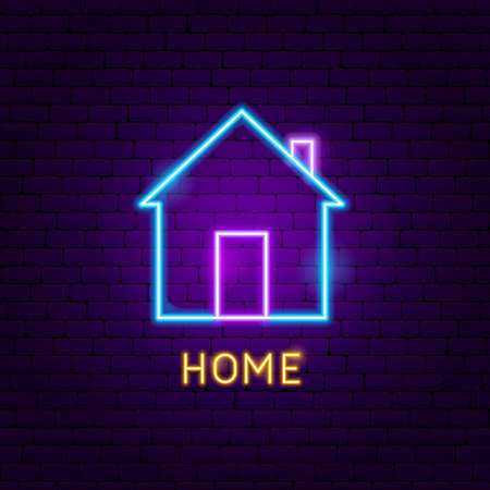 Home Neon Label. Vector Illustration of User Interface Promotion.