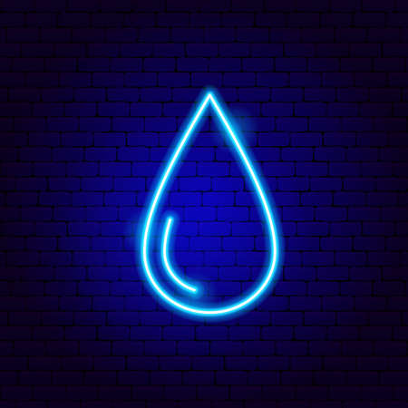 Water Drop Neon Sign. Vector Illustration of Nature Promotion.