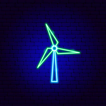 Wind Power Neon Sign. Vector Illustration of Ecology Promotion.