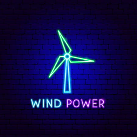 Wind Power Neon Label. Vector Illustration of Energy Promotion.