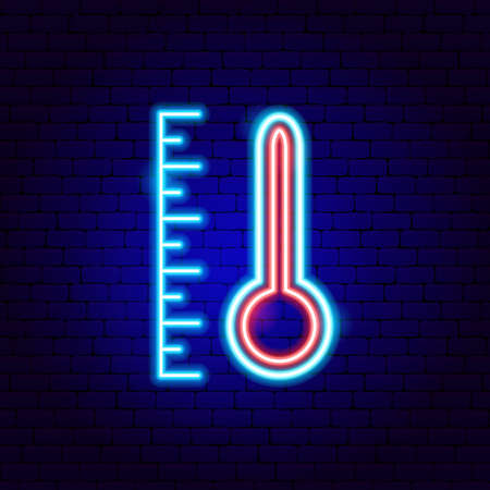 Thermometer Neon Sign. Vector Illustration of Weather Promotion.