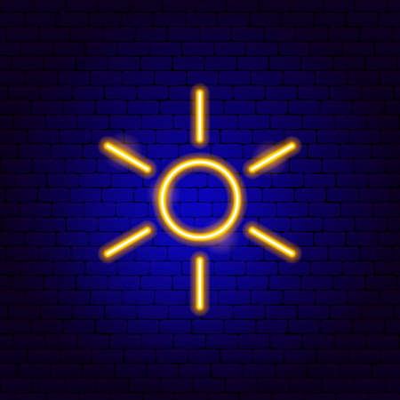 Sun Weather Neon Sign. Vector Illustration of Energy Promotion. Stock Vector - 134979396