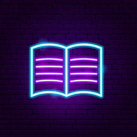 Reading Neon Sign. Vector Illustration of User Interface Promotion. Illusztráció