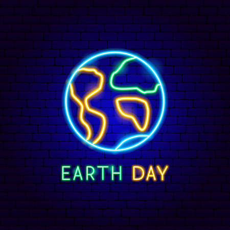 Earth Day Neon Label. Vector Illustration of Ecology Promotion. Ilustrace