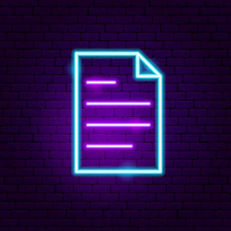 Document Neon Sign. Vector Illustration of User Interface Promotion. Stock fotó - 134980749