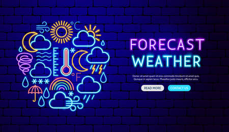 Weather Forecast Neon Banner Design. Vector Illustration of Metcast Promotion.