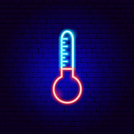 Weather Thermometer Neon Sign. Vector Illustration of Forecast Promotion.