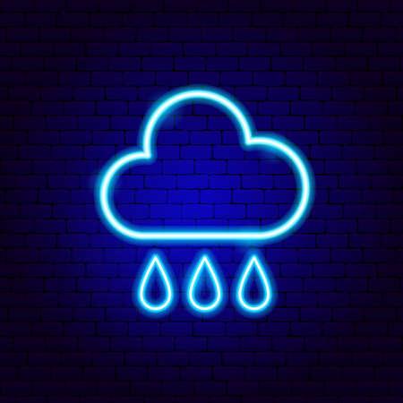 Rainy Cloud Drops Neon Sign Illusztráció