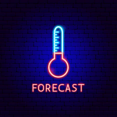 Forecast Neon Label. Vector Illustration of Weather Promotion.