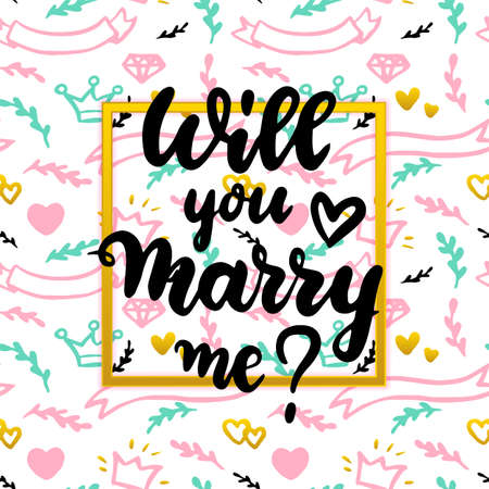 Will You Marry Me Concept. Vector Illustration of Greeting Card Design. Vector Illustratie