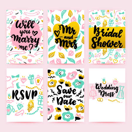 Bridal Shower Greeting Posters. Vector Illustration of Card Design with Lettering. Vector Illustratie
