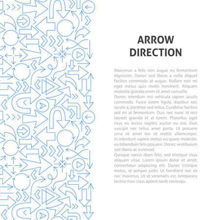 Arrow Direction Line Pattern Concept. Vector Illustration of Outline Design.  イラスト・ベクター素材