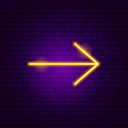 Arrow Neon Sign 7. Vector Illustration of Direction Promotion.  イラスト・ベクター素材