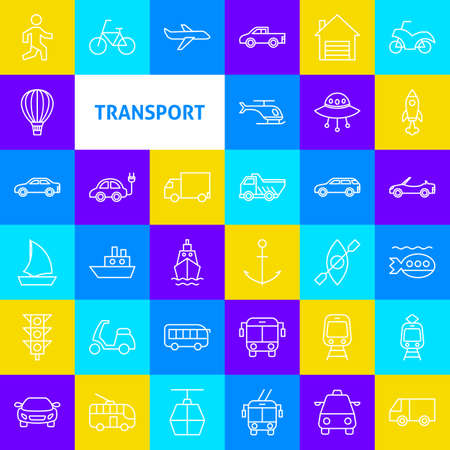 Transport Line Icons. Thin Outline Symbols over Colorful Squares.