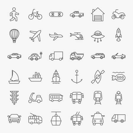 Transport Line Icons Set. Vector Thin Outline Vehicle Symbols.