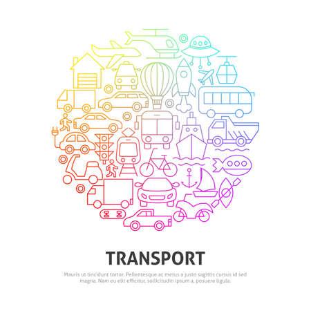 Transport Circle Concept. Vector Illustration of Outline Design. Zdjęcie Seryjne - 138115267