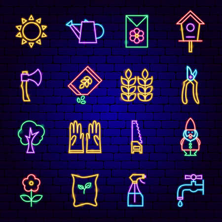 Garden Neon Icons Illustration