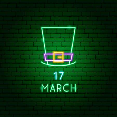 Irish Hat 17 March Neon Label Zdjęcie Seryjne - 143073779