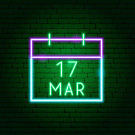 Calendar 17 March Neon Sign