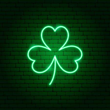Three Leaf Clover Neon Sign Ilustracja