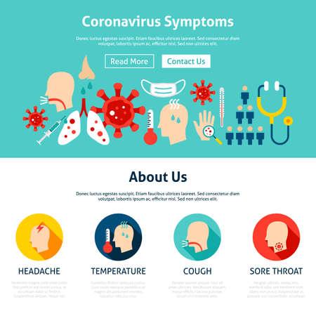 Coronavirus Symptoms Website Design Vecteurs