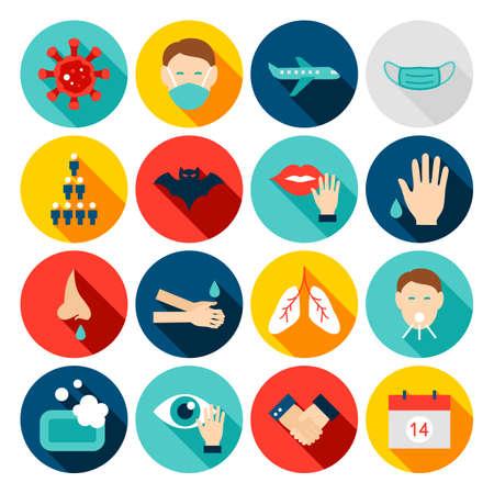 Płaskie ikony zapobiegania koronawirusowi
