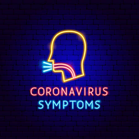 Coronavirus Symptoms Neon Label